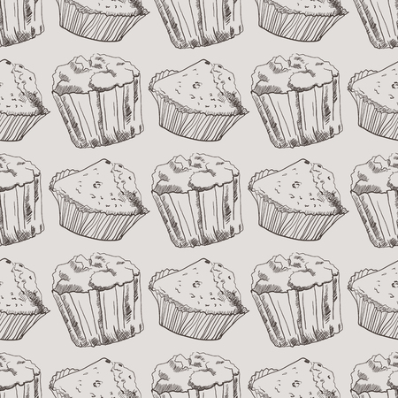 muffins: Seamless pattern with hand-drawn muffins. Graphic style Illustration