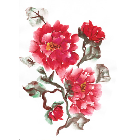 Peonies, painted in gouache. Stylized Chinese painting. Raster copies