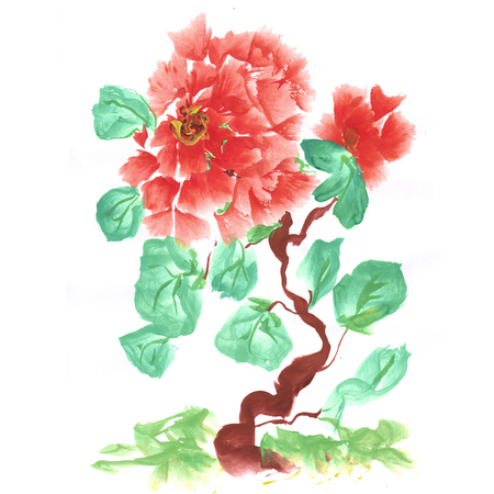 painting and stylized: Peonies, painted in gouache. Stylized Chinese painting. Raster copies