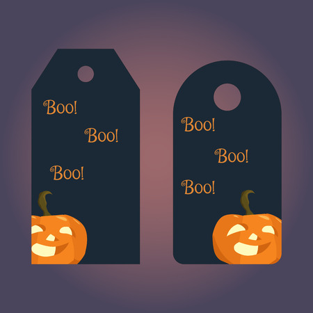 tally: Label, badge, price tag with the image of symbol of Halloween pumpkin. Illustration in hand drawing style. Illustration