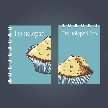 mould: Notebook cover design. Drawing muffin, vector illustration Illustration
