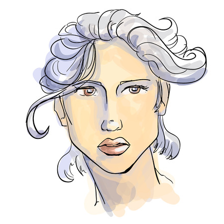 Hand-drawn graphics fashion portrait with beautiful young woman with white hair, inviting girl, top model. For your design logo, signage, brochures, booklets, on business cards, in beauty salons. Vector, sketch style