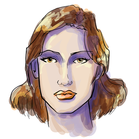 Hand-drawn graphics fashion portrait with beautiful brunette young woman, inviting girl, top model.