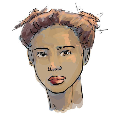 Hand-drawn graphics fashion portrait with beautiful young african american woman, inviting girl, top model. For your design logo, signage, brochures, booklets, on business cards, in beauty salons. Vector, sketch style