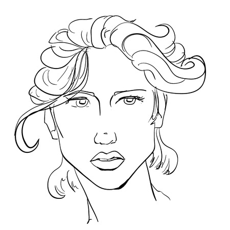 Hand-drawn graphics fashion portrait with beautiful young woman, inviting girl, top model. For your design logo, signage, brochures, booklets, on business cards, in beauty salons. Vector, sketch style Ilustração