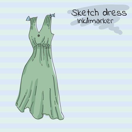Short Green summer dress, sarafan, on a retro background in horizontal stripes.