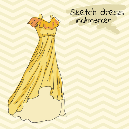Yellow Long summer dress, sarafan, with frills and straps on retro background in zigzag stripes. Illustration