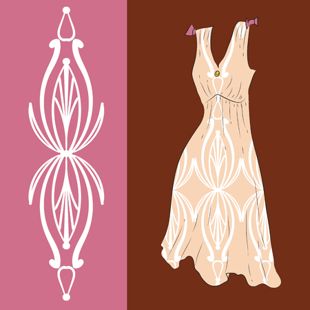 Elegant pattern with an example of applying on a short peach summer dress.