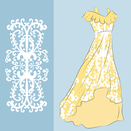 Elegant pattern with an example of applying on a long yellow summer dress.