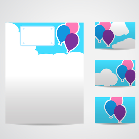 mould: Set of blank templates. Business cards and letterhead paper. Illustration with flying balloons in a blue sky amidst white clouds. Style of application, figures cut from paper, stickers