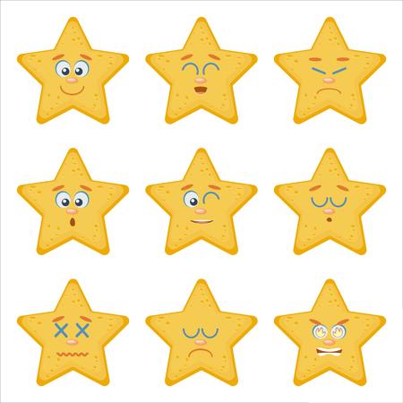 Satz von Emoticons. Emoji flachen Cartoon-Set mit Meer Seestern, kann in einem Web-Chat verwendet werden, wie ein Maskottchen auf der Website, Logo, Emblem, avatar.