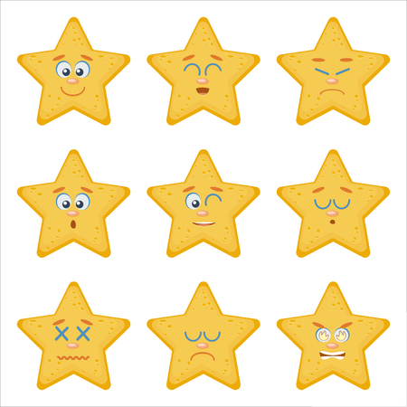 Set of Emoticons. Emoji flat cartoon set with sea starfish, can be used in a web chat, like a mascot on website, logo, emblem, avatar.