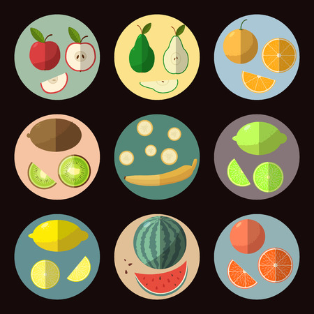A set of fruit icons in a flat style. Elements c shadow in colorful circles. Vector illustration.