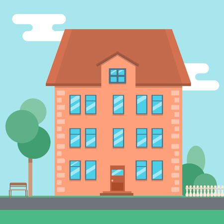 settle: Flat cartoon house near the road on summer day. vector illustration, Illustration