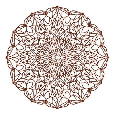 Lace ornament, round ornamental natural doily pattern, mandala, adult coloring book trend