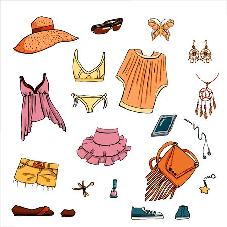 earrings: Summer look in sketch hand-drawing style. Set of various clothing items and accessories. Perfect for design signage sales, shopping bags, postcards, posters and illustrations in magazines. Illustration
