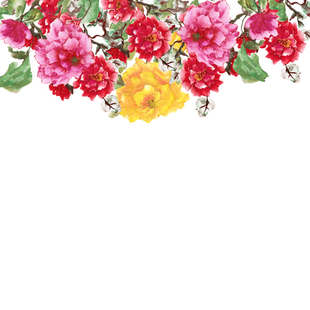 Watercolor background with peony. Pink, yellow and red flowers on a white. Stylized Chinese painting illustration Stock Photo