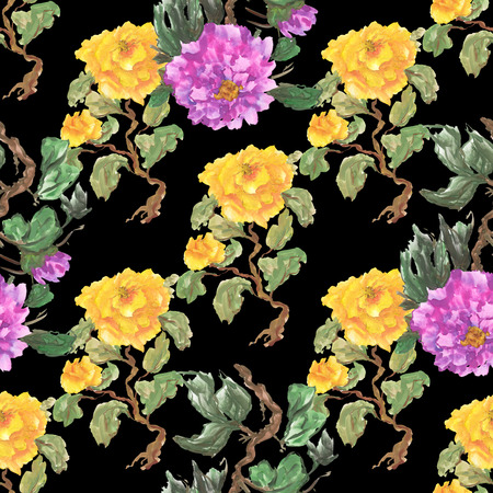 Watercolor seamless pattern with peony. Purple and yellow flowers on a black background.