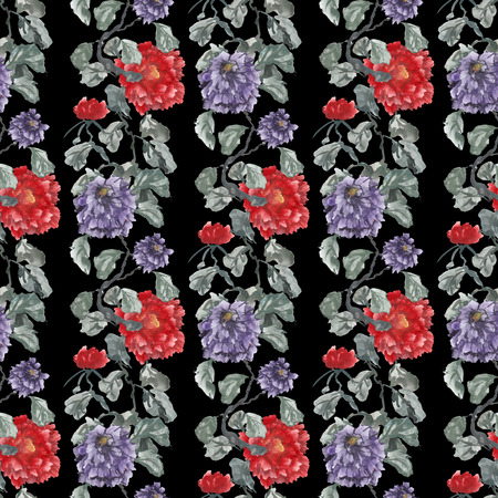 Watercolor seamless pattern with peony. Red and purple flowers on a black background.