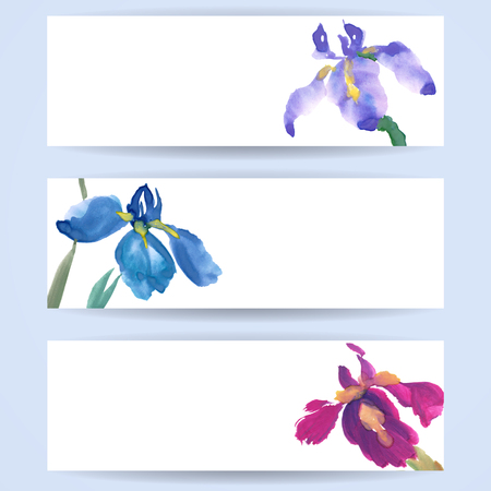 Three templates of horizontal banners. Irises, painted in gouache, hand-drawing illustration. Stylized traditional Chinese painting, Japanese art sumi-e
