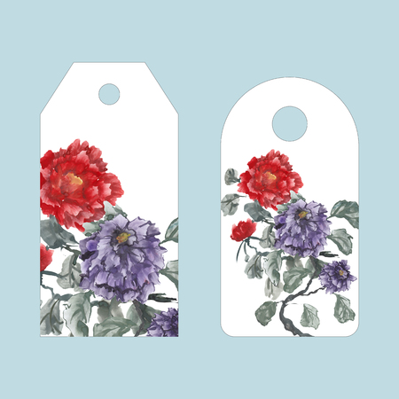 Label, badge, price tag with the illustration in hand drawing style. Peonies, painted in gouache, hand-drawing illustration, Stylized traditional Chinese painting, Japanese art sumi-e Stock Photo