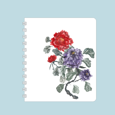 gouache: Notebook cover design, hand-drawing illustration. Peonies, painted in gouache, hand-drawing illustration, Stylized traditional Chinese painting, Japanese art sumi-e