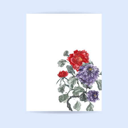 Flyer design. Letter format. Hand-drawing ink illustration. Peonies, painted in gouache, hand-drawing illustration, Stylized traditional Chinese painting, Japanese art sumi-e
