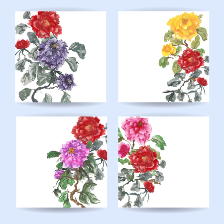 Four square cards. Peonies, painted in gouache, hand-drawing illustration. Stylized traditional Chinese painting, Japanese art sumi-e