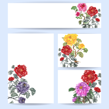 gouache: Set of blank templates. Banner, cards and letterhead paper. Peonies, painted in gouache, hand-drawing illustration. Stylized traditional Chinese painting, Japanese art sumi-e,  Stock Photo