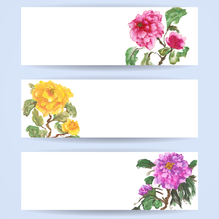 Three templates of horizontal banners. Peonies, painted in gouache, hand-drawing illustration. Stylized traditional Chinese painting, Japanese art sumi-e