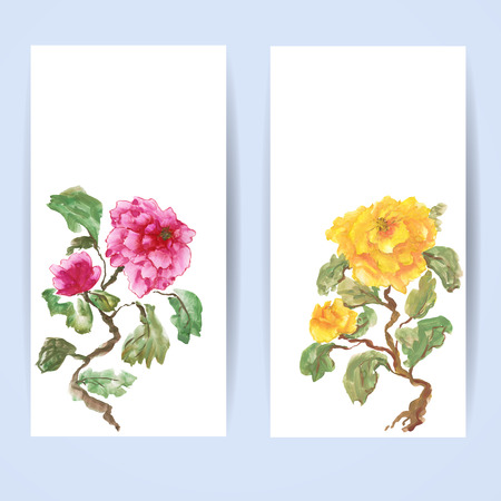 Two templates of vertical banners. Peonies, painted in gouache, hand-drawing illustration. Stylized traditional Chinese painting, Japanese art sumi-e