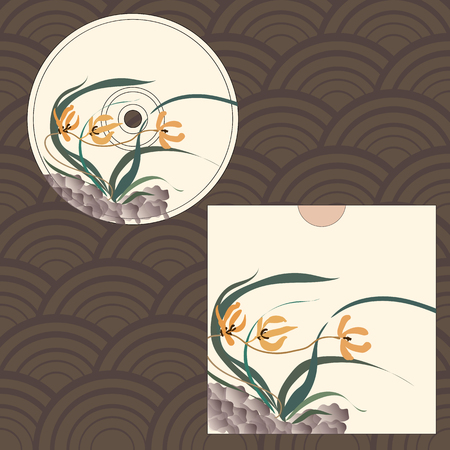mould: CD cover design. Wild orchid growing on stones. Traditional Chinese painting, Japanese art sumi-e, vector stylization Illustration