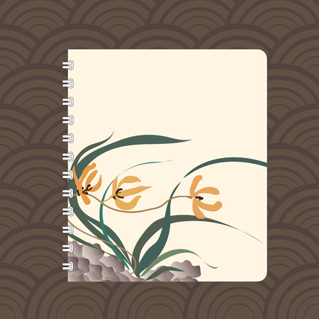 mould: Notebook cover design with the image of hand-drawing illustration. Wild orchid growing on stones. Traditional Chinese painting, Japanese art sumi-e, vector stylization