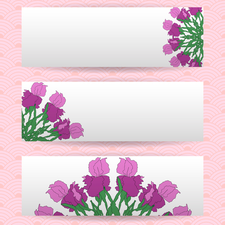 Three templates of horizontal banners . Floral Mandala pattern, wild irises, vector