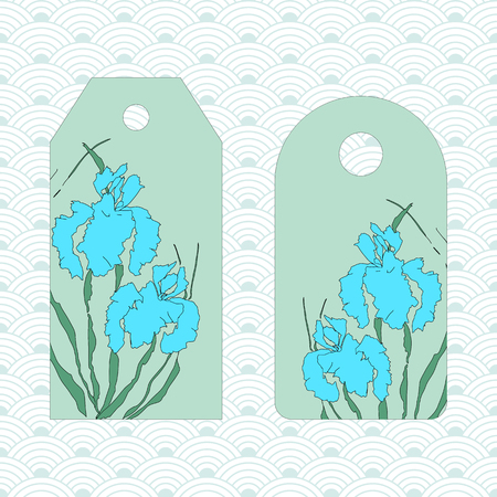 Label, badge, price tag. Vectorized irises, hand-drawing illustration. Stylized traditional Chinese painting, Japanese art sumi-e Иллюстрация