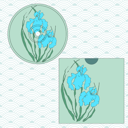 CD cover design. Vectorized irises, hand-drawing illustration, Stylized traditional Chinese painting, Japanese art sumi-e