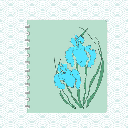 Notebook cover design, hand-drawing illustration. Vectorized irises, hand-drawing illustration. Stylized traditional Chinese painting, Japanese art sumi-e