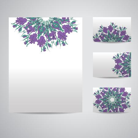 asian business: Set of blank templates. Business cards and letterhead paper. Illustration with floral Mandala pattern