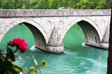 visegrad: Famous bridge od the river Drina in Visegrad Republika Srpska Bosnia and Herzegovina