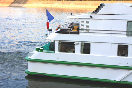 turistic: Back side of french turistic boat on the Danube river