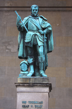 Statue on The Feldherrnhalle, which was modelled on the Loggia dei Lanzi in Florence, was commissioned by King Ludwig I to honour the Bavarian army and its victorious generals. Munich, Germany