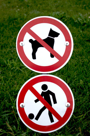 children play area: restricted dog and children play area Stock Photo