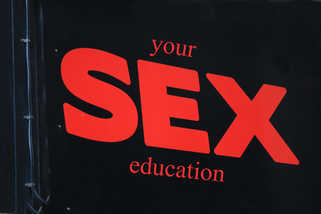 sex education: you sex education sign on a black backgound