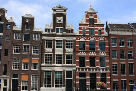 sloping: sloping houses in Amsterdam, Holland.