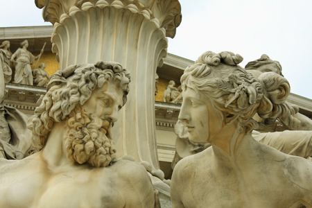 beings: vienna, austrian parliament and sculpture of mythological beings