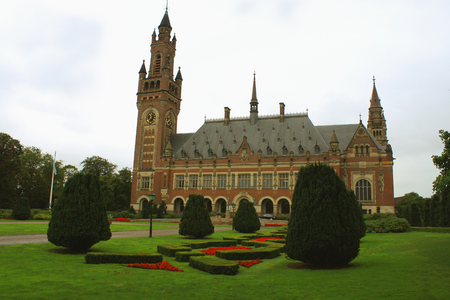 the Peace Palace, the building in The Hague. It is the seat of the International Court of Justice of UN Editorial