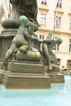 donner: detail of the Donner Fountain Donnerbrunnen in Neuer Markt in Vienna, Austria Stock Photo