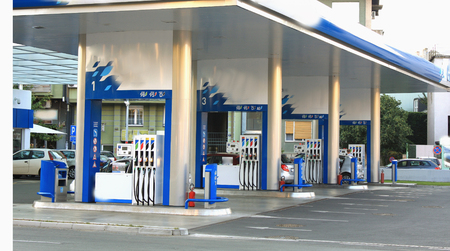 unleaded: Gas station with enough space for charging Stock Photo