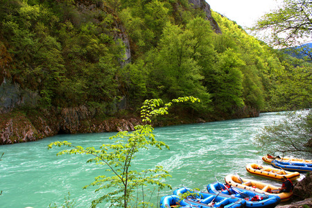 tara: rafting boats and the big rapids of river Tara