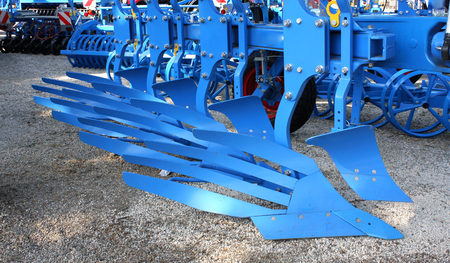 farm implements: Equipment for agriculture, on agricultural exhibition. Stock Photo